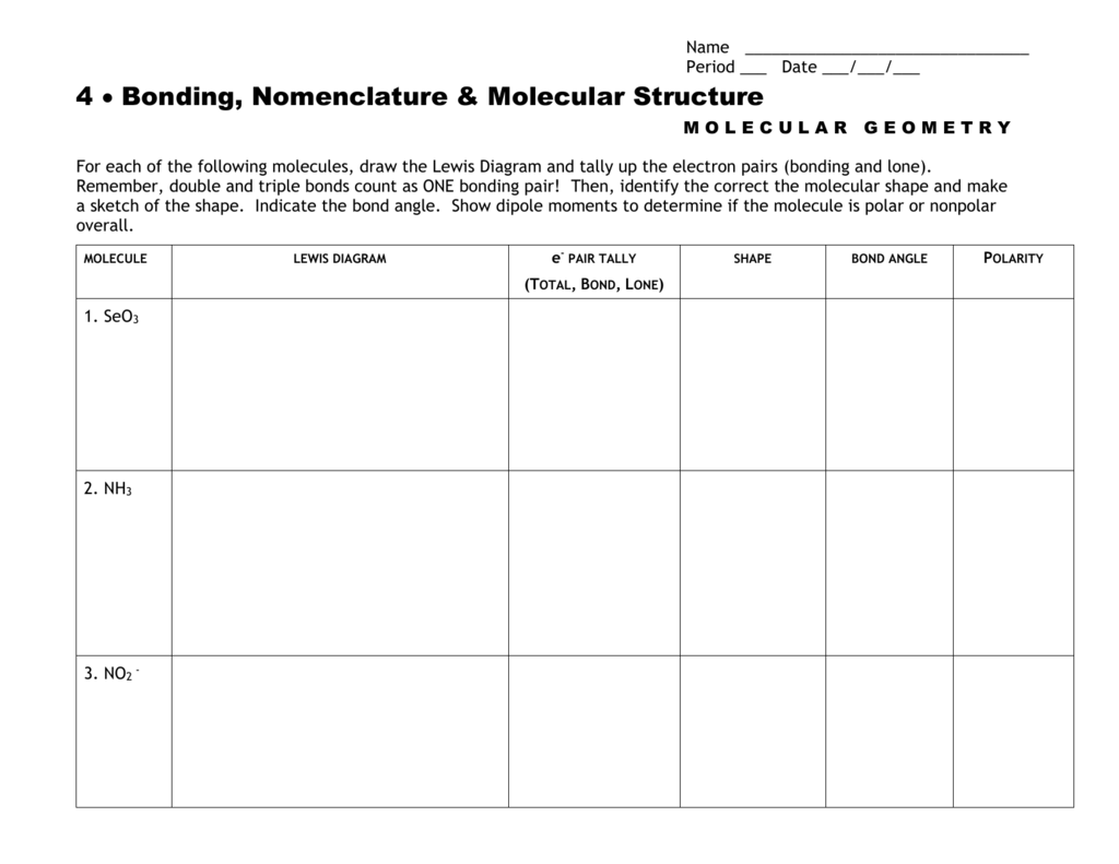 Molecular Geometry Worksheet