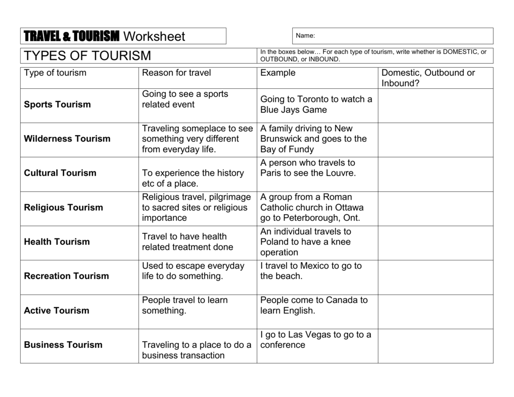 Travel Amp Tourism Worksheet 1