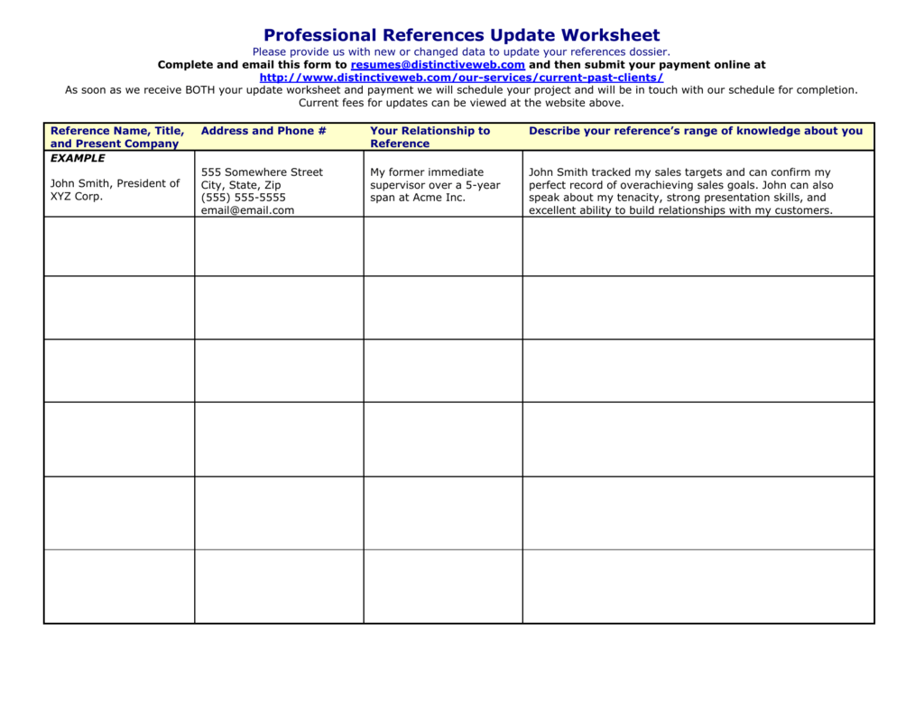 Professional References Update Worksheet