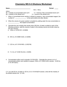 Chemistry Ii Worksheet Name Molarity Amp Dilution 1 What