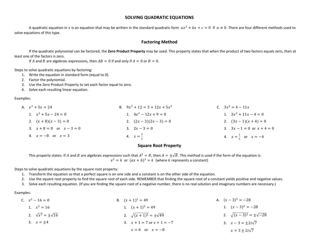 Solving Quadratic Equations Factoring Method Square Root