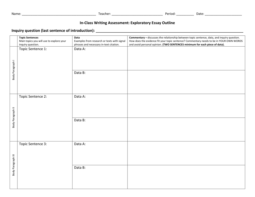 Exploratory Essay Worksheet
