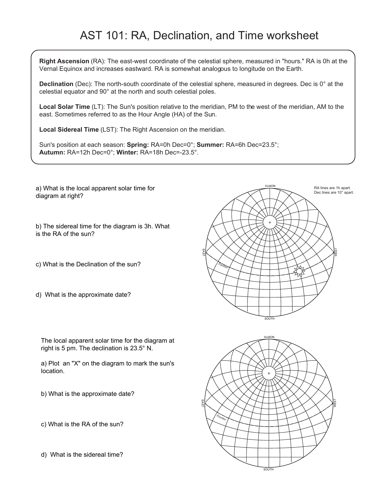 Ast 101 Ra Declination And Time Worksheet