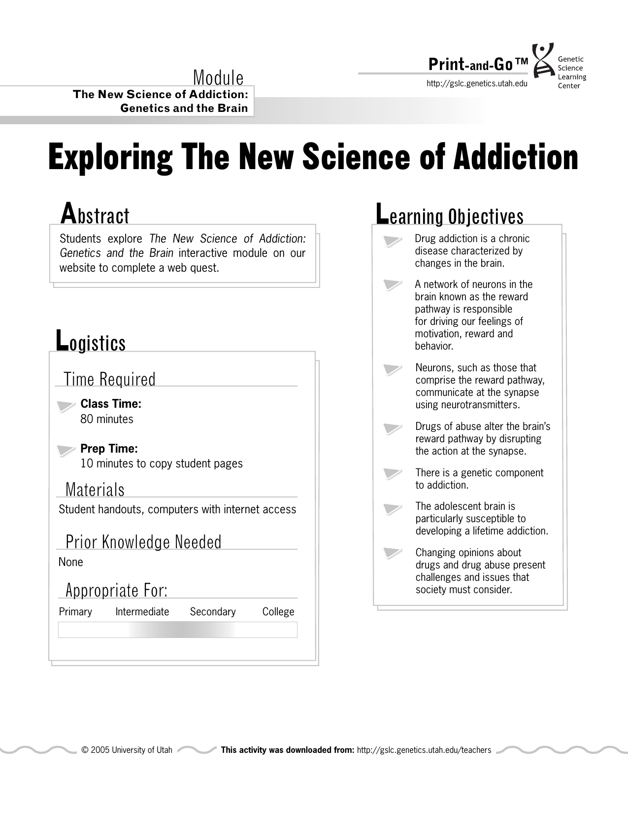 Exploring The New Science Of Addiction Print And Go