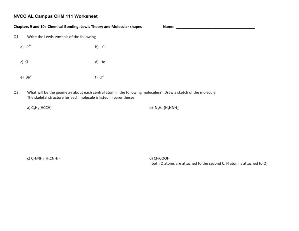 Nvcc Al Campus Chm 111 Worksheet