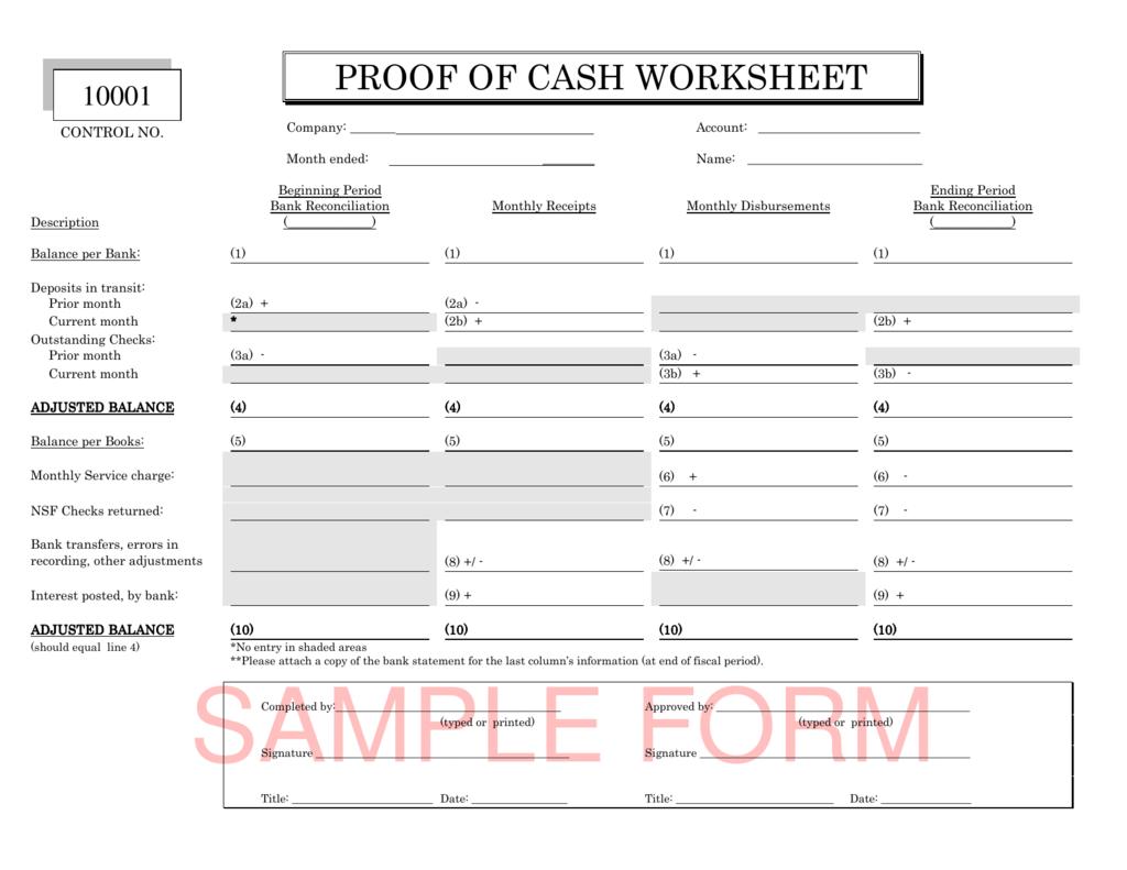 Proof Of Cash Worksheet Documentation