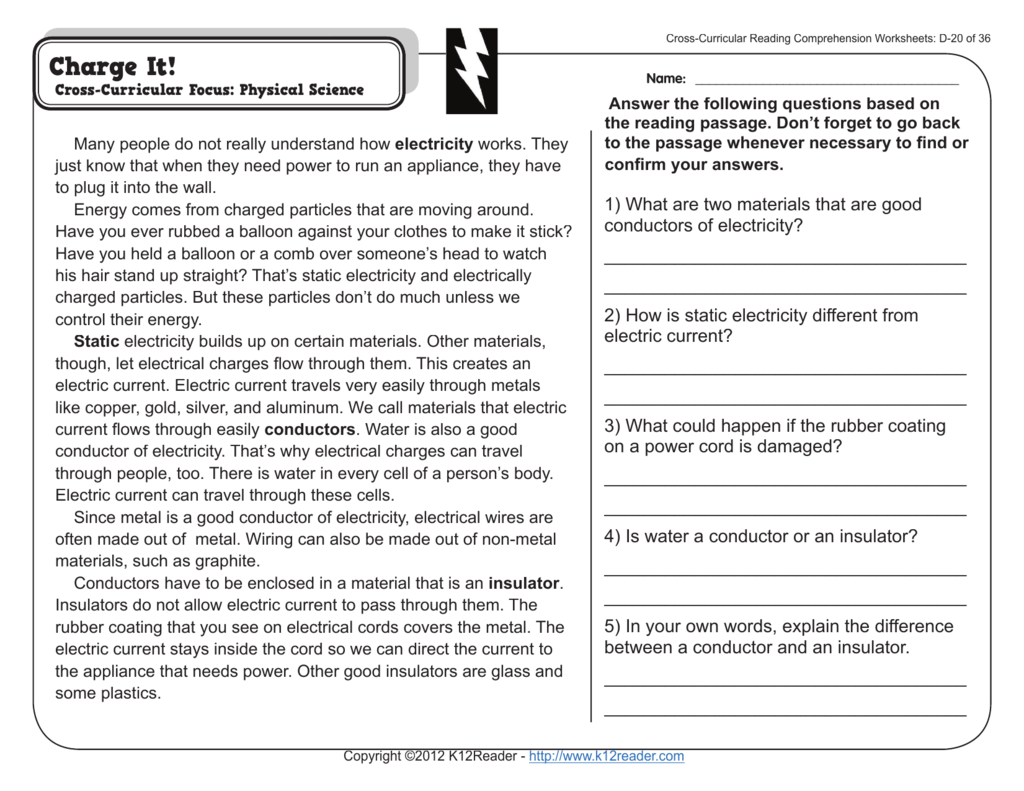 K12reader Answer Key