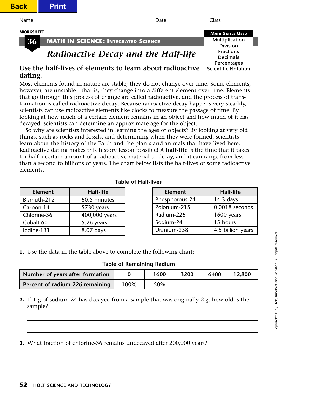 Radioactive Decay And The Half Life