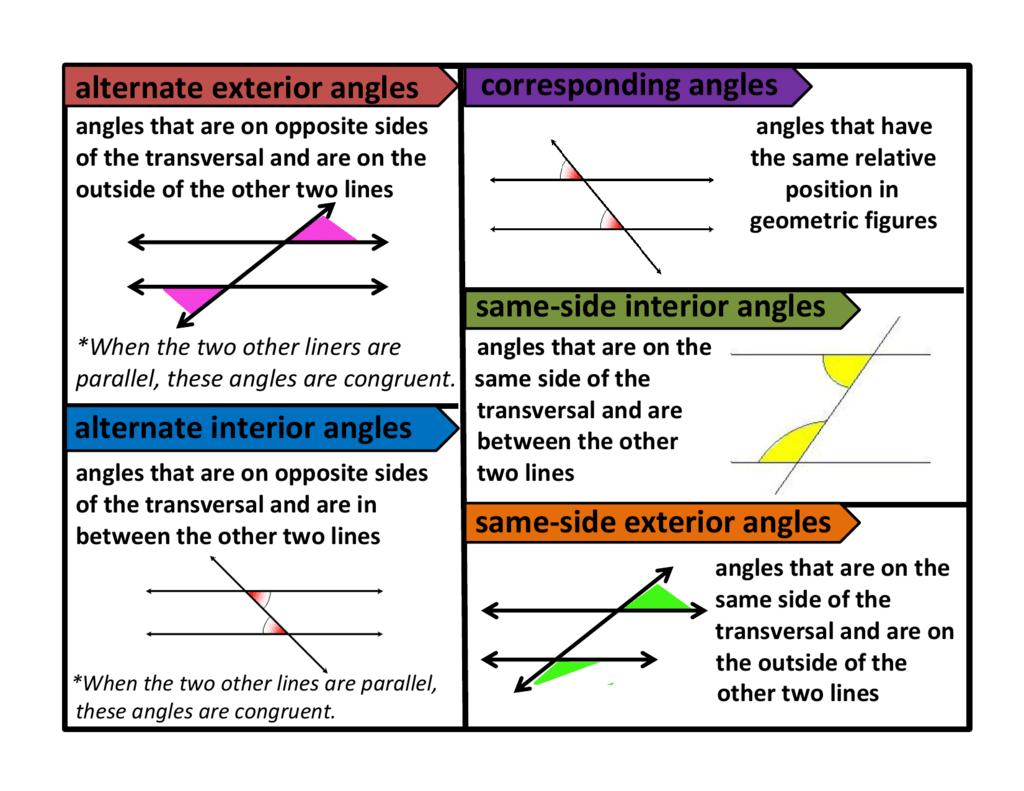 Alternate Exterior Angles Alternate Interior Angles