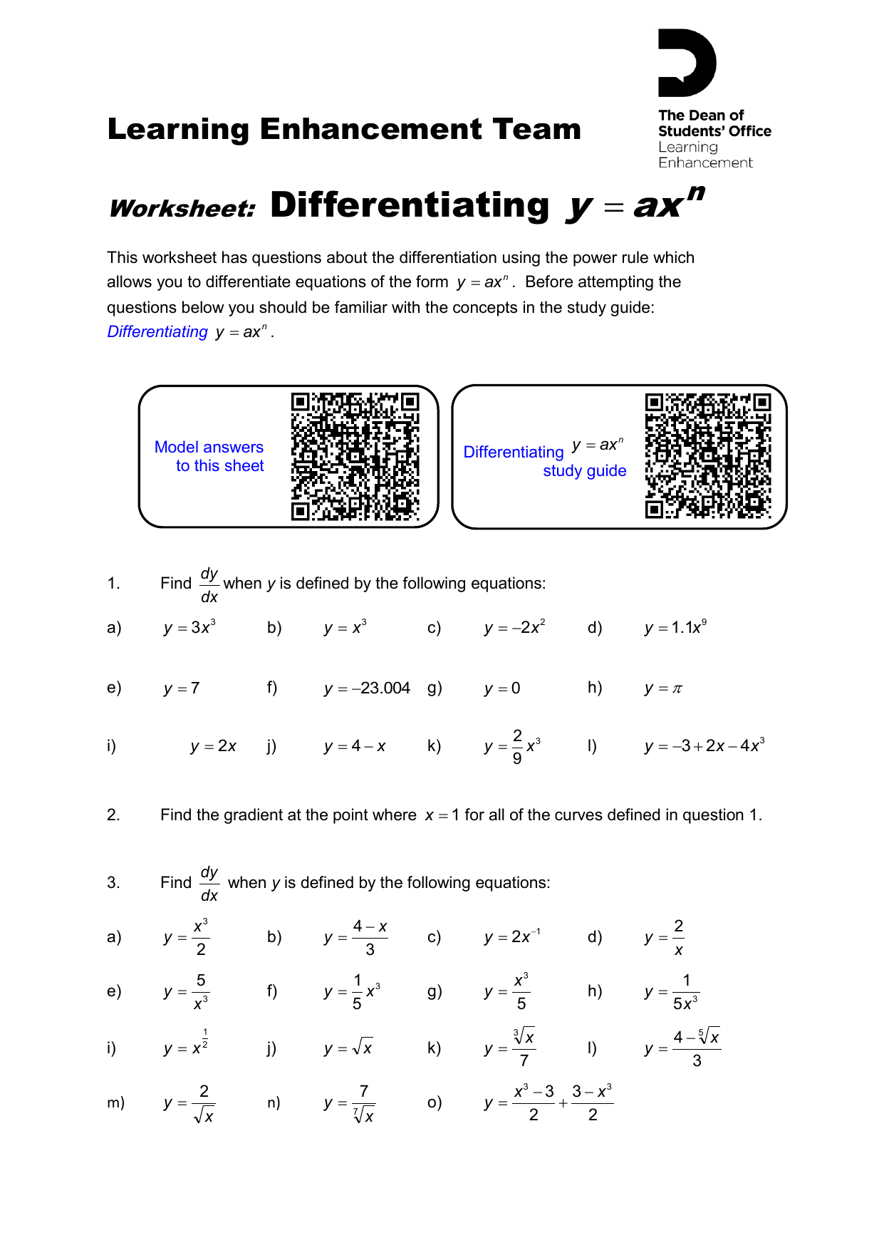 Differentiation Using The Power Rule Worksheet