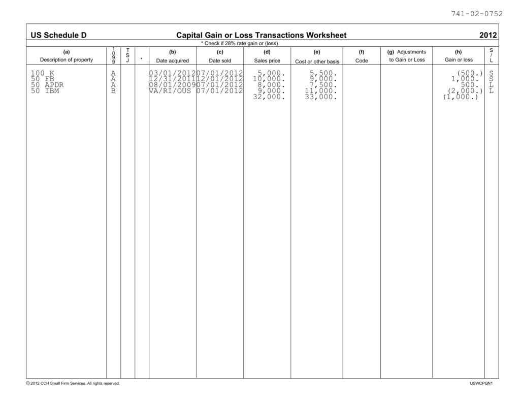 Capital Gain Or Loss Transactions Worksheet Us Schedule D