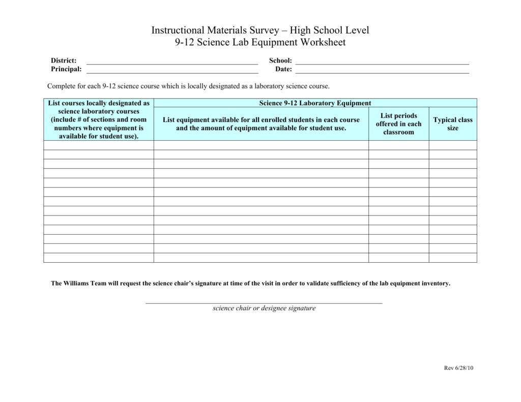 High School Level 9 12 Science Lab Equipment Worksheet