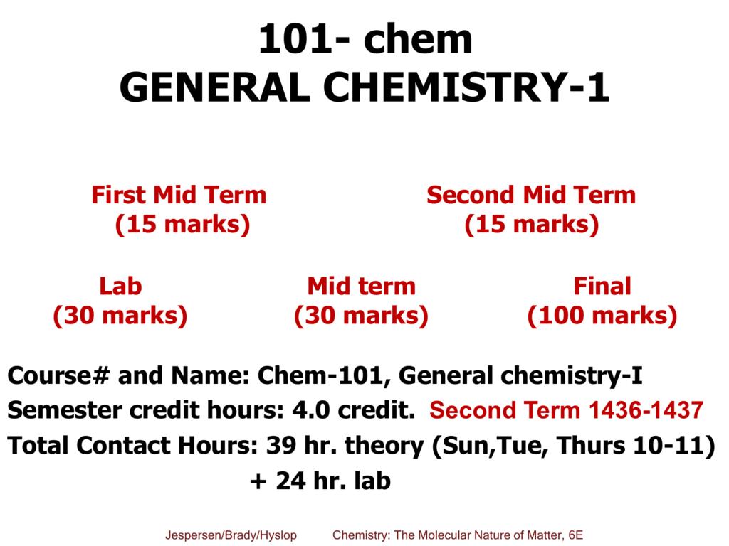 101 Chem General Chemistry 1