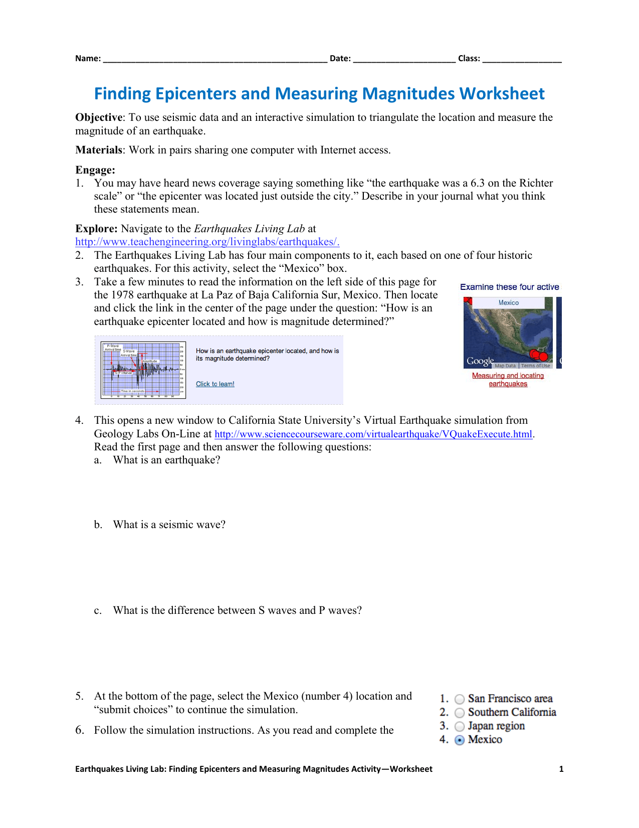 Finding Epicenters And Measuring Magnitudes Worksheet