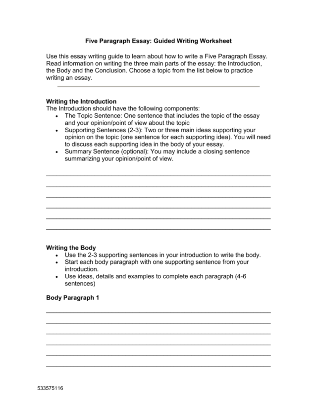 Five Paragraph Essay: Guided Writing Worksheet