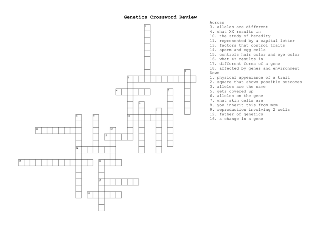 Genetics Crossword Review