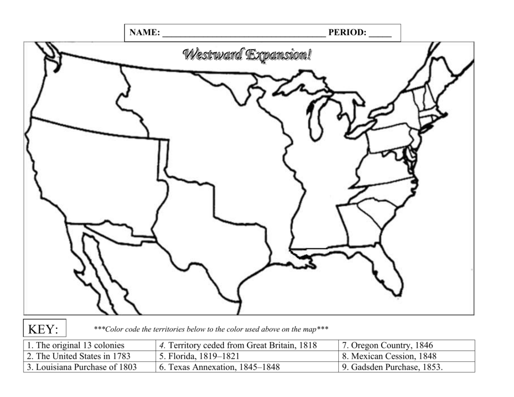 Westward Expansion Map Blank