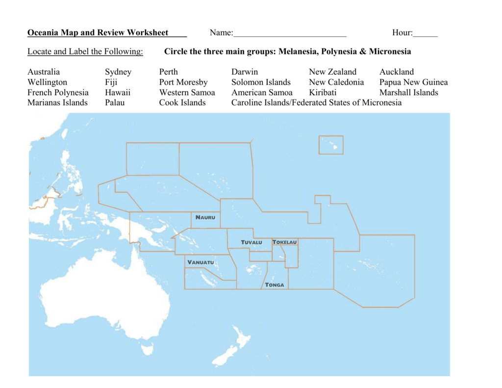 Oceania Map And Review Worksheet