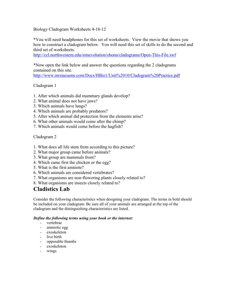 2 Biology Cladogram Worksheets 4 18 12