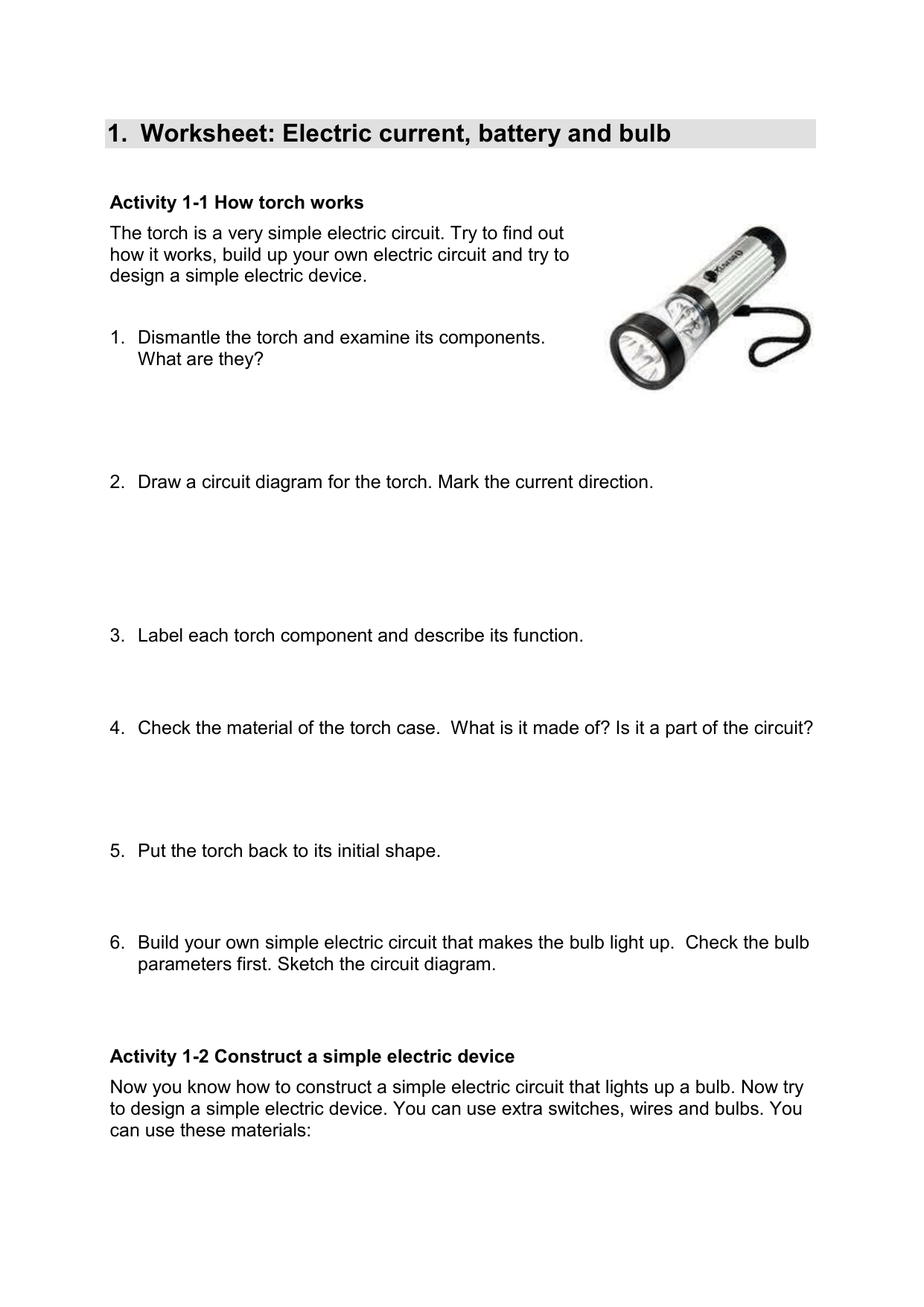 Worksheet Electric Current Battery And Bulb