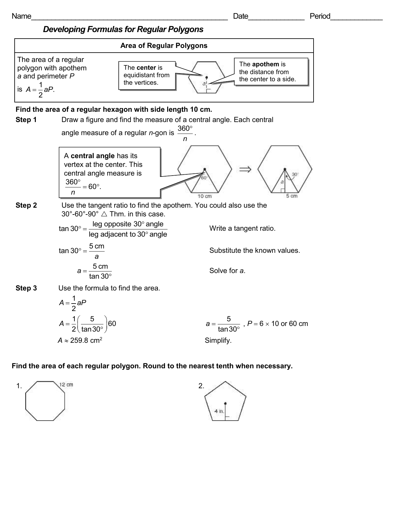 Geo Ch9 Finding Area Of Polygons Worksheet W