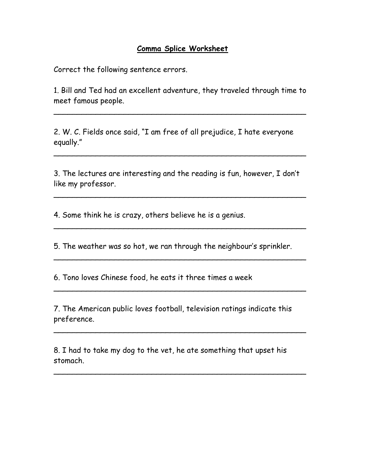 28 Run On Sentences And Comma Splices Worksheet With