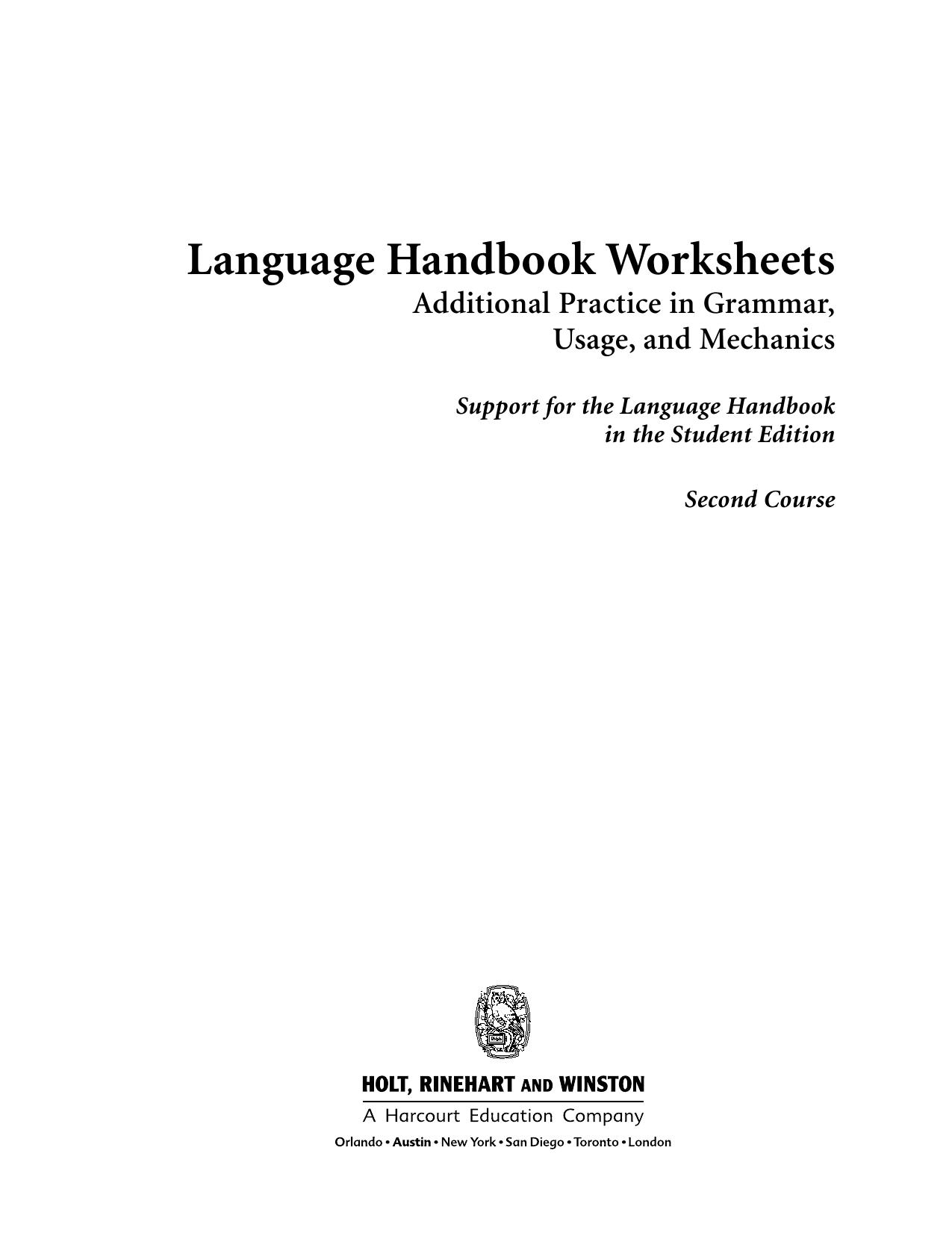 Language Handbook Worksheets