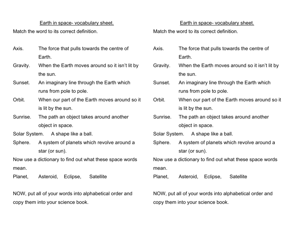Earth In Space Vocabulary Sheet Match The Word To Its