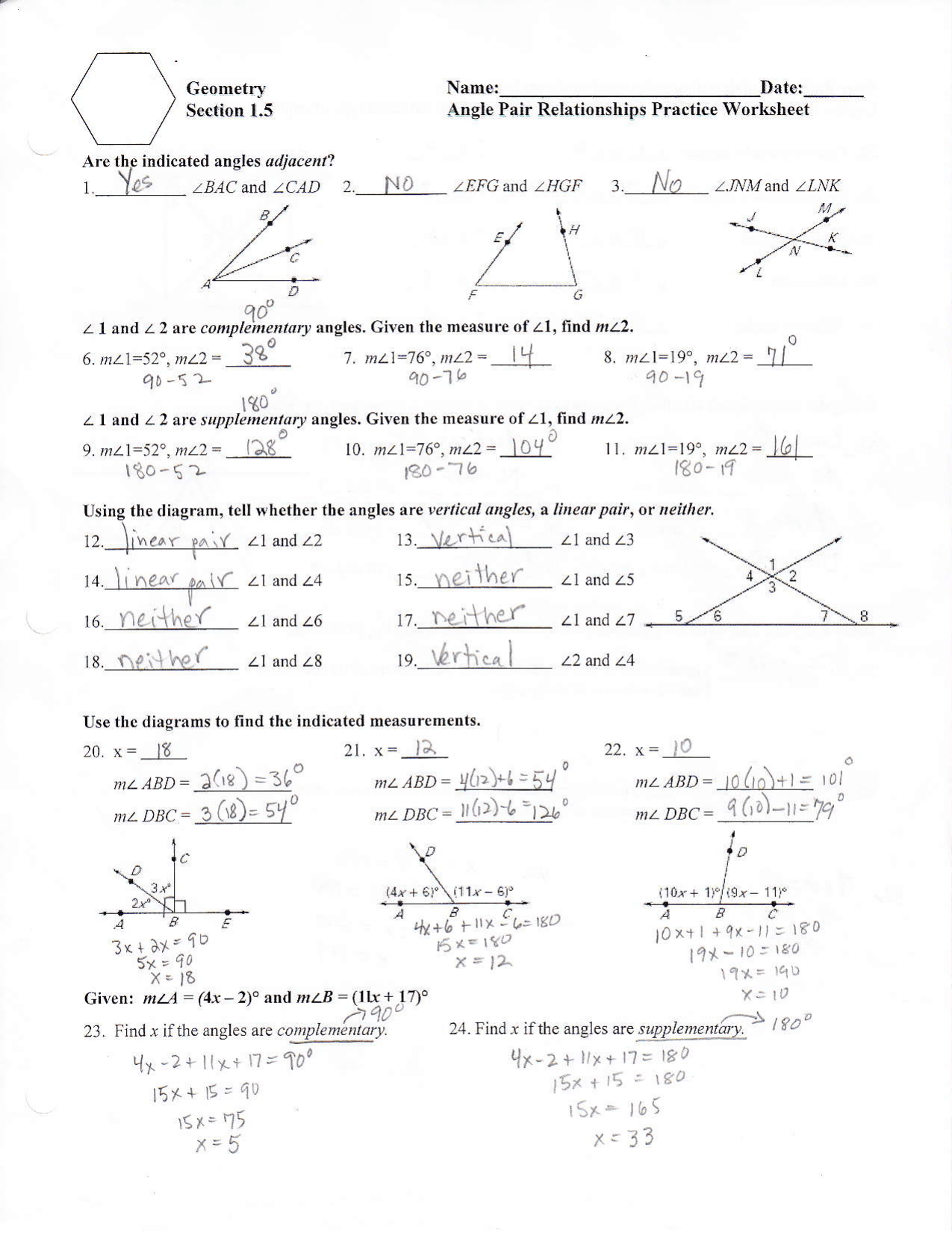 25 Angle Pair Relationships Worksheet