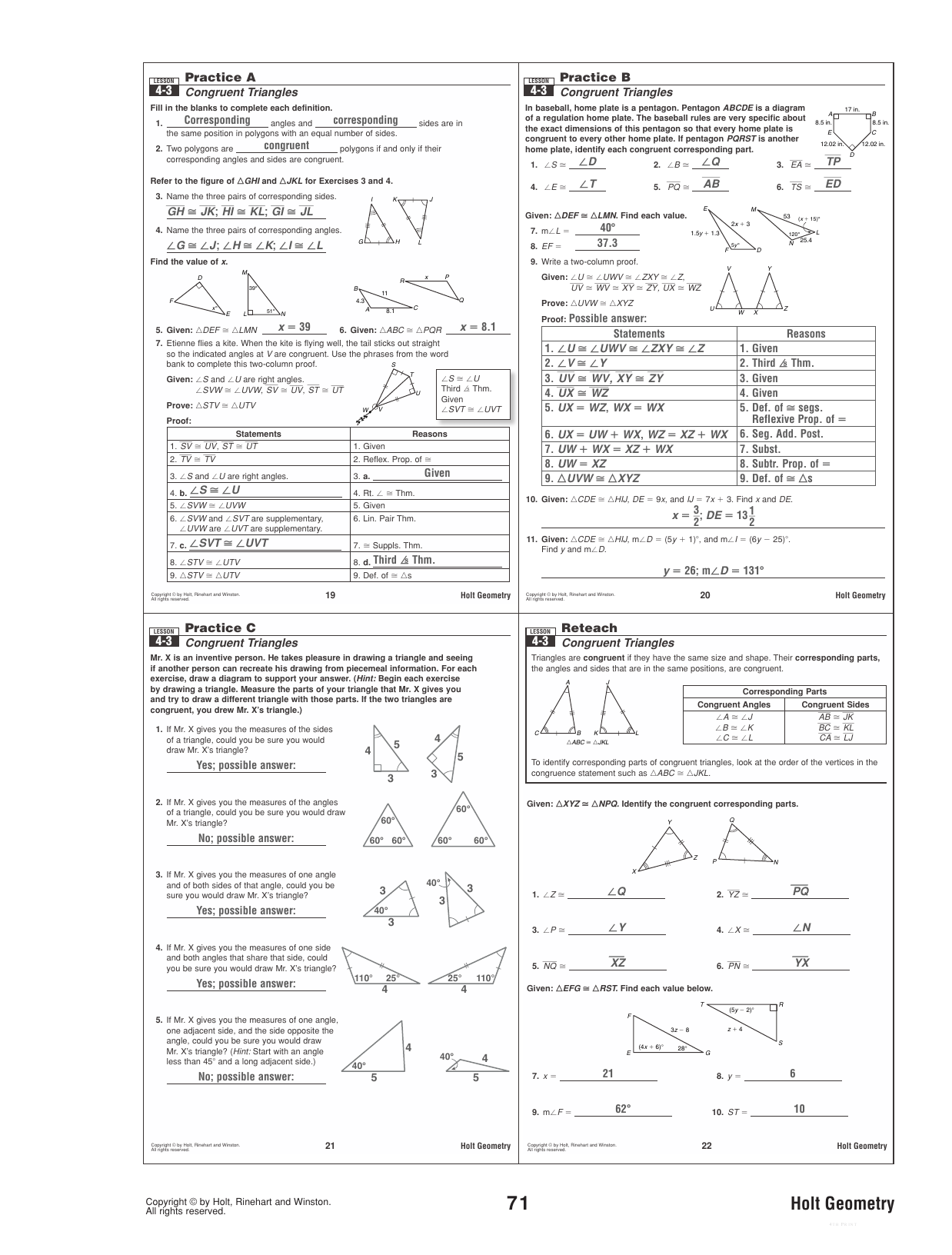 4 3 Practice Worksheet Congruent Triangles Answers