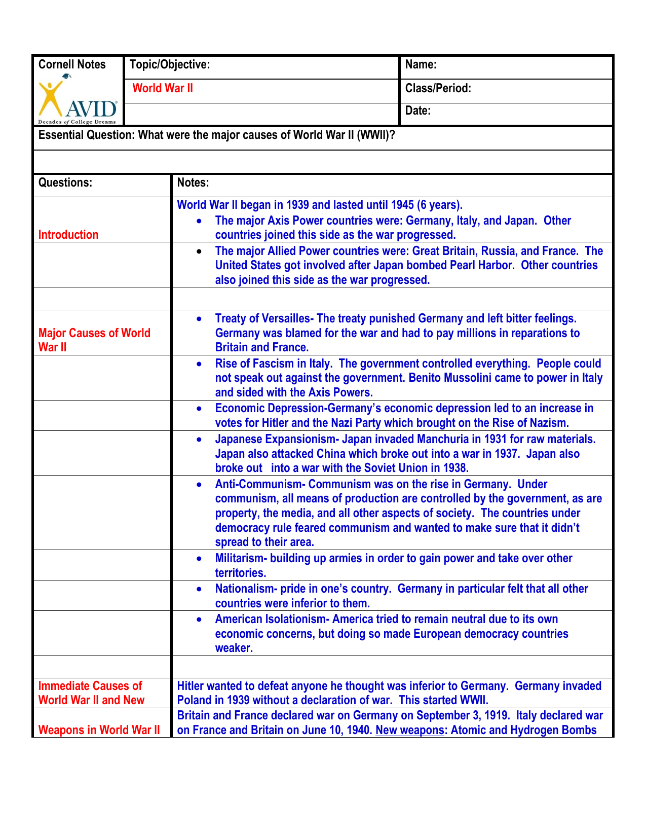 Cornell Notes Topic Objective Name World War Ii Class Period