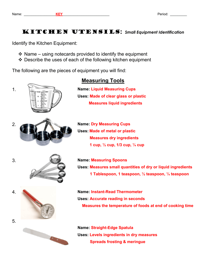 Small Equipment Identification Kitchen Utensils Chapter 9 Study Sheet Design