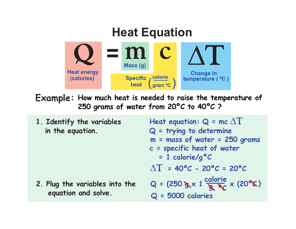 What Is The Equation To Solve For Amount Of Heat Energy