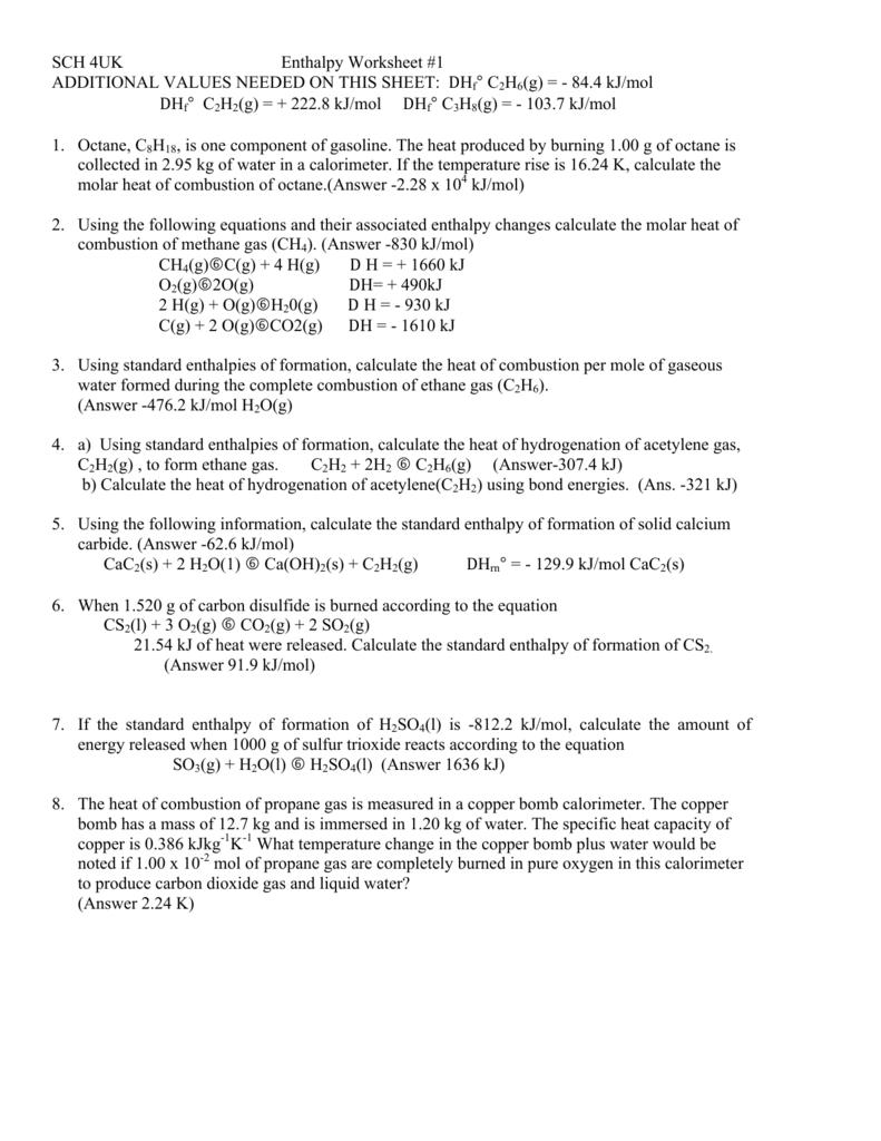 Enthalpy Worksheets 1 Amp 2