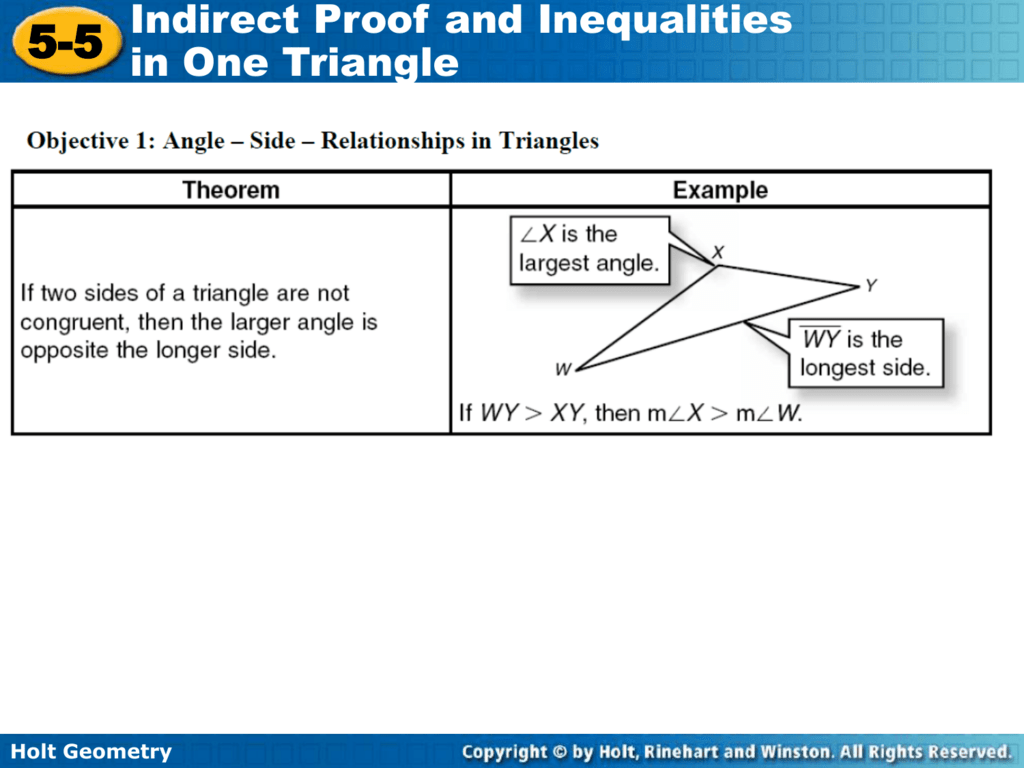 Printables Of Indirect Proof And Inequalities In One Triangle Worksheet Answers