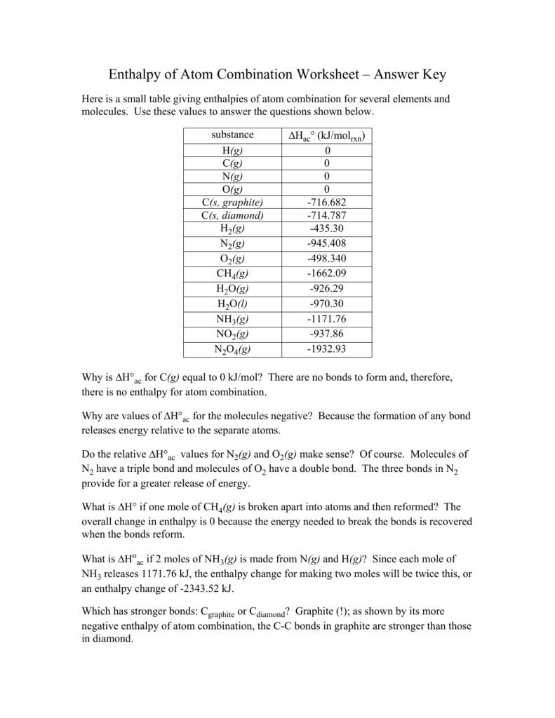 Enthalpy Of Atom Combination Worksheet Answer Key