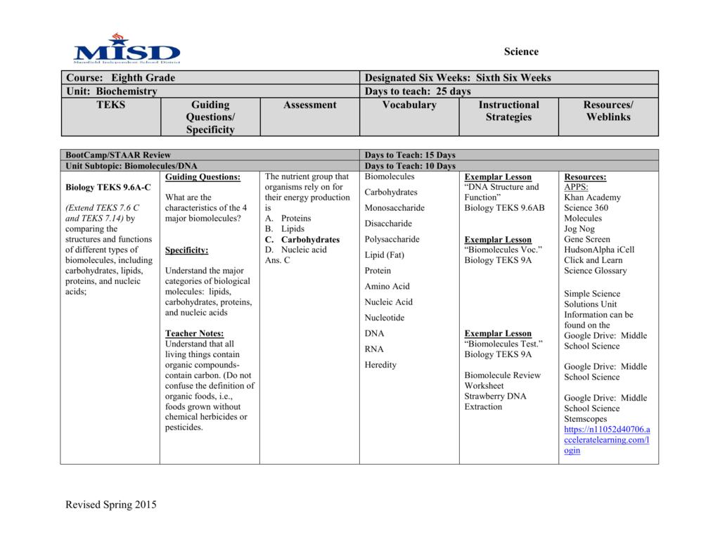 Printables Of Biomolecule Review Worksheet