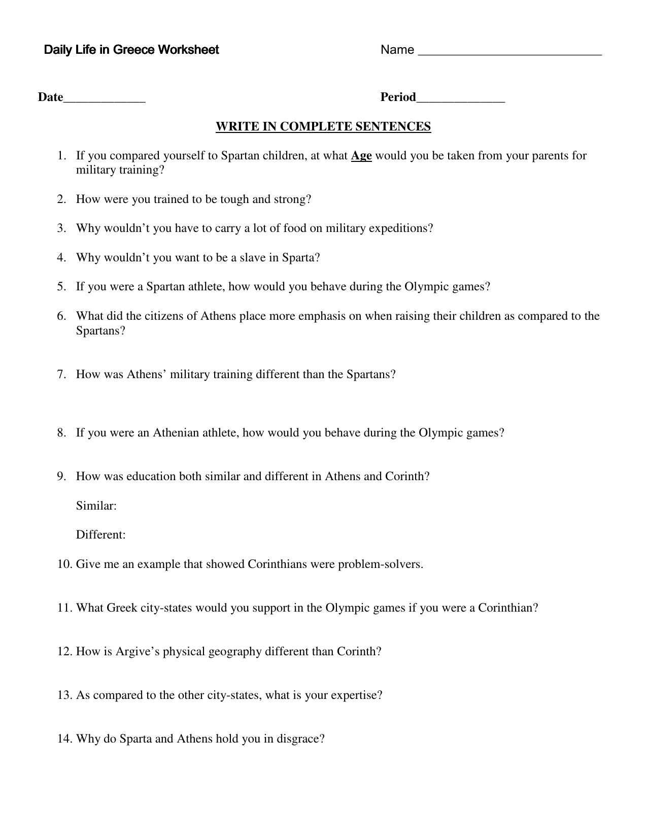 Daily Life In Greece Worksheet Daily Life In Greece Worksheet