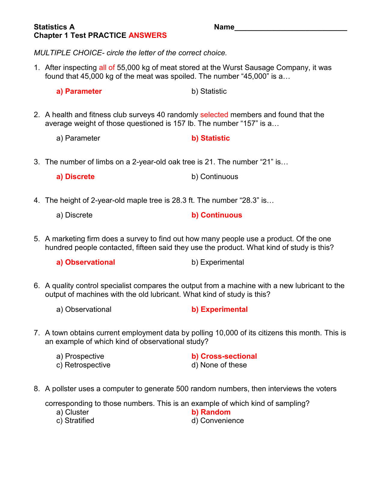 Statistics A Name Chapter 1 Test