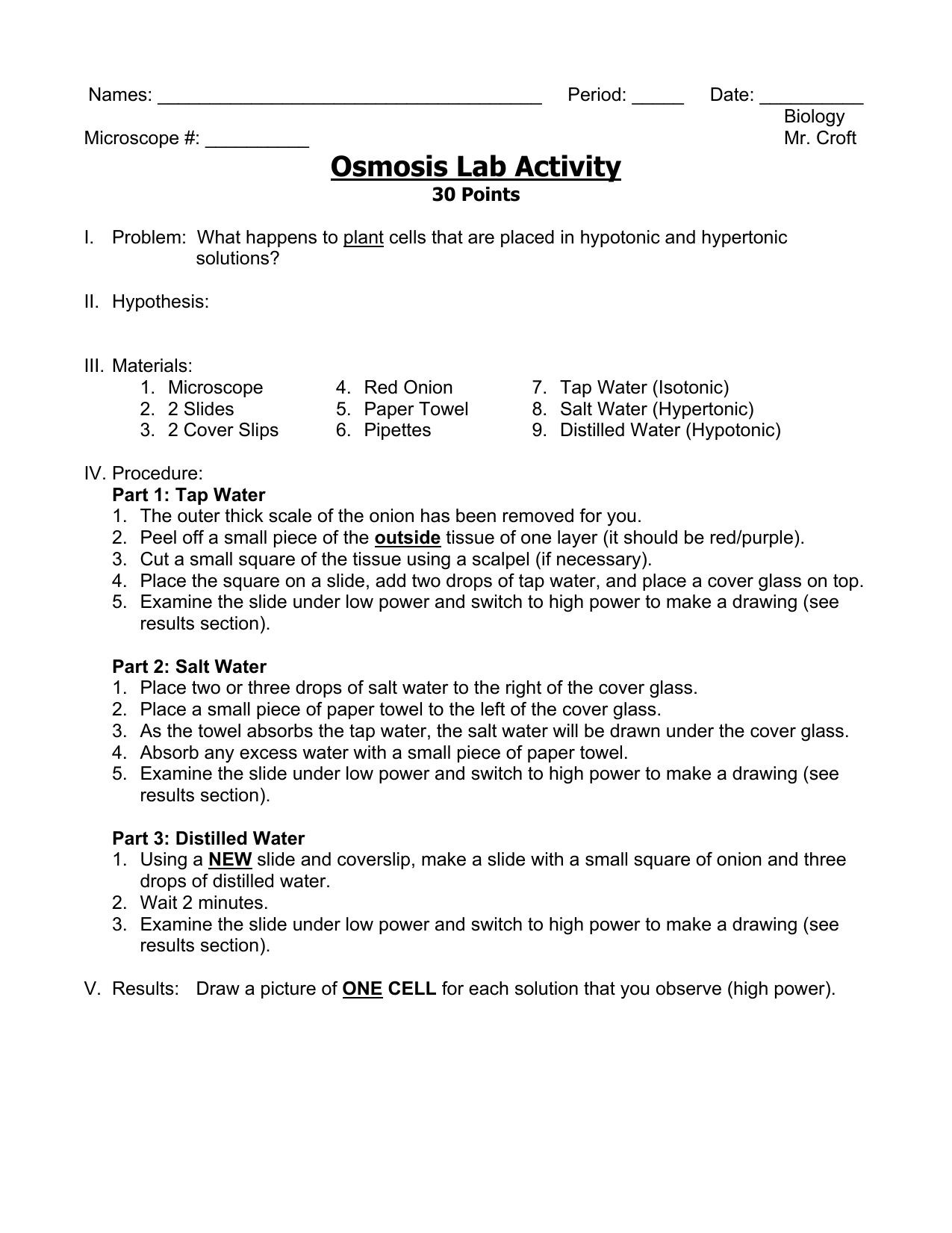 Osmosis Lab Activity