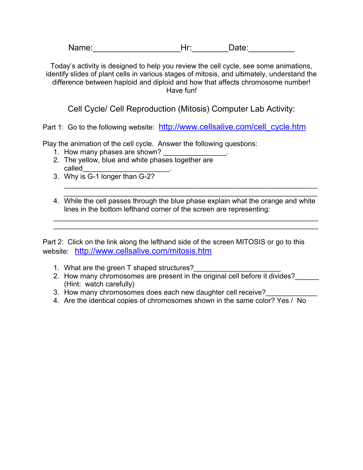 Worksheet The Cell Cycle Coloring Worksheet Grass Fedjp
