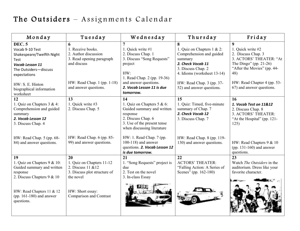 The Outsiders Assignments Calendar