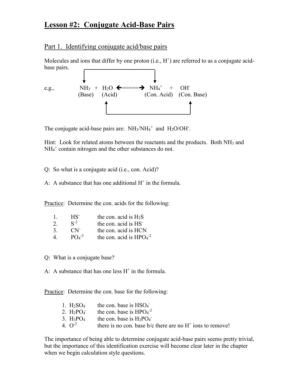 Lesson 2 Conjugate Acid