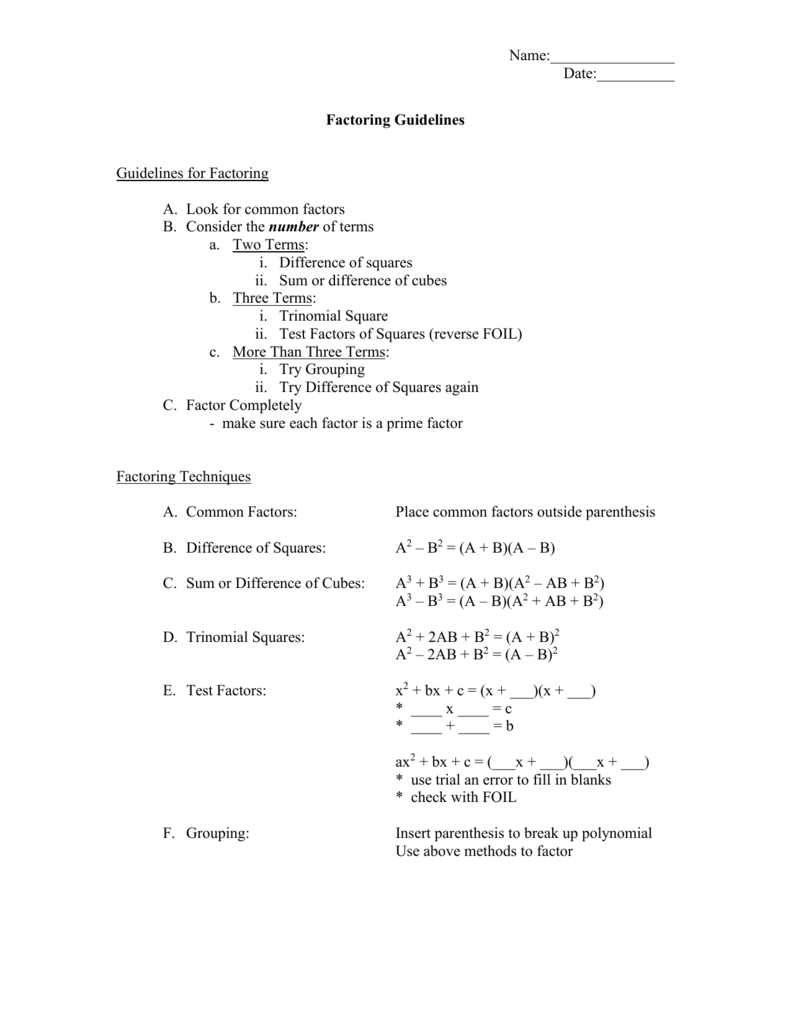 Factoring Worksheet