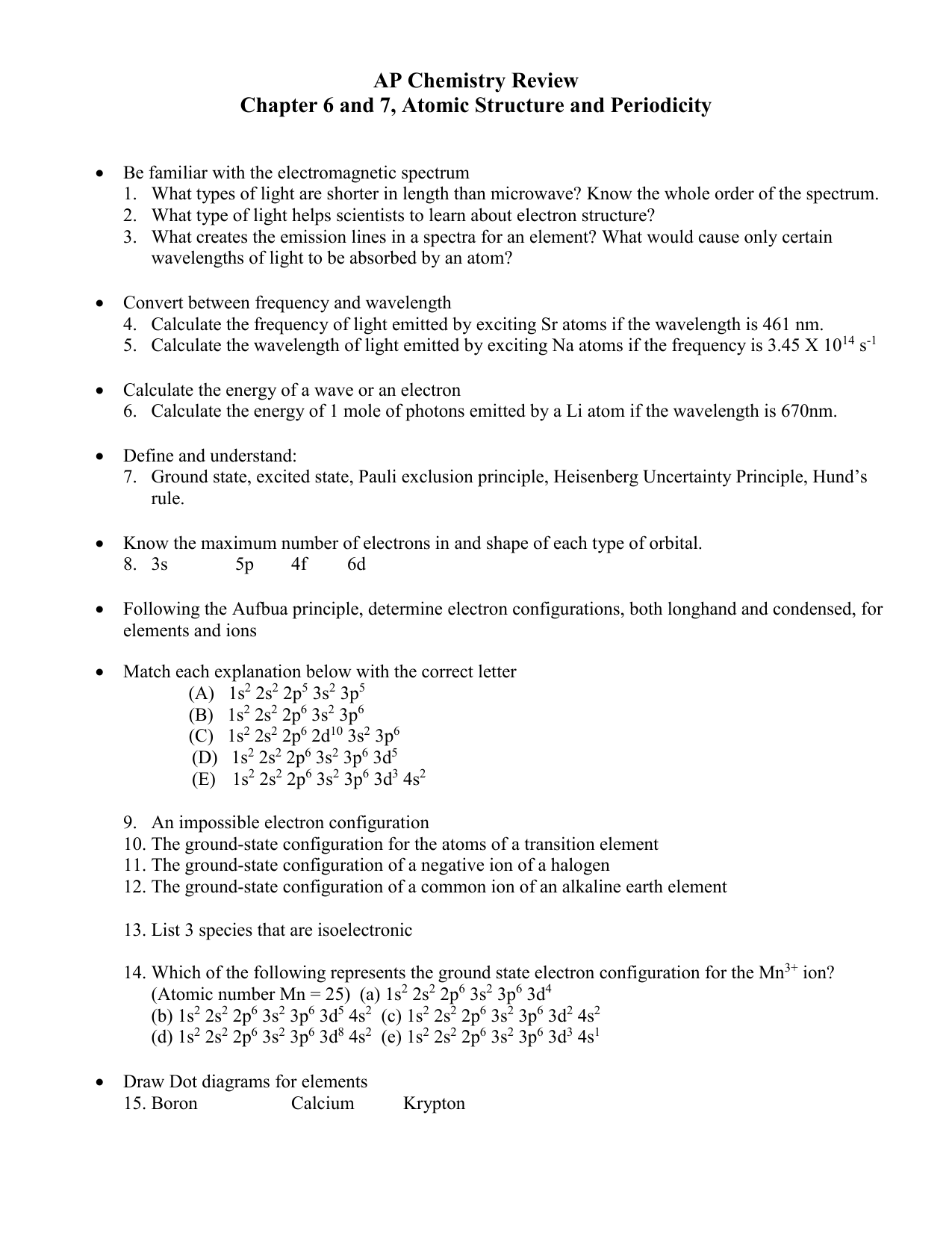Ap Chemistry Study Guide Chapter 6 And 7 Atomic
