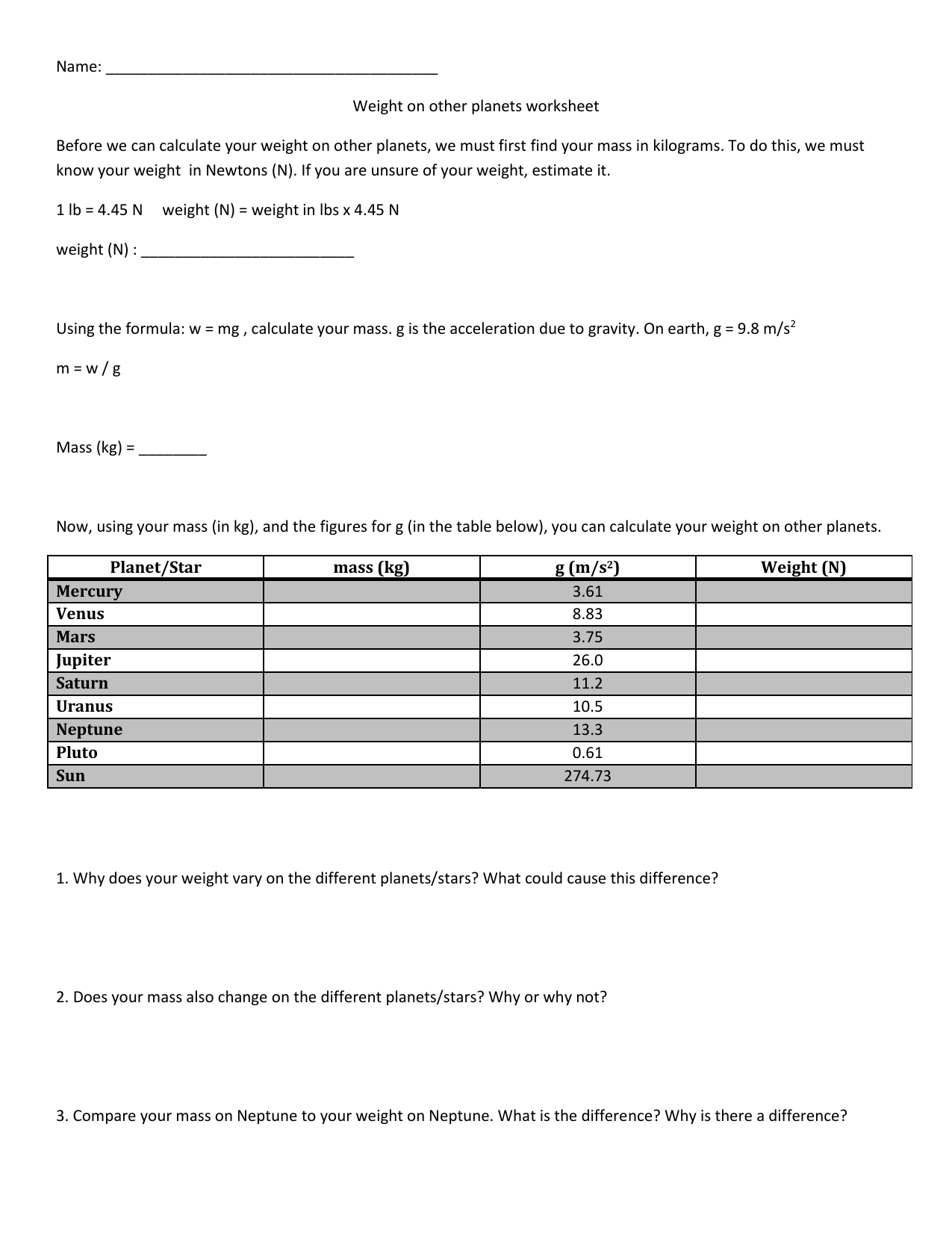 Weight On Other Planets Worksheet