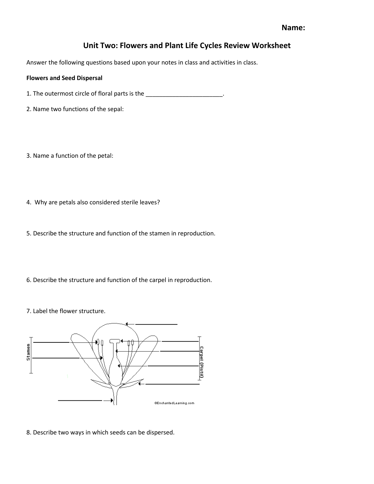Name Unit Two Flowers And Plant Life Cycles Review Worksheet