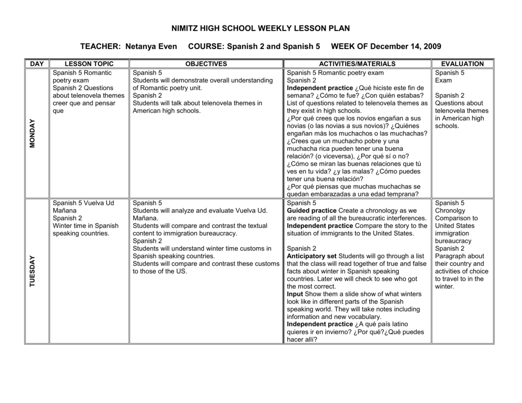 Lesson Plan Form Week Of December 14
