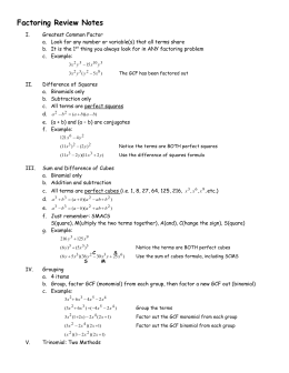 Factoring Worksheet Factor By Grouping Review Trinomials