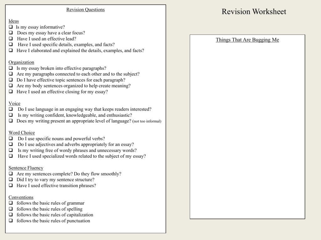 Expository Essay Revision Worksheet
